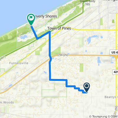 11765 W County Road 125 N, Michigan City to 3 W Atwater Ave, Beverly Shores