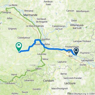 De Chemin du Canal, Lafox à 26 Avenue Adrien Lamothe, Houeillès