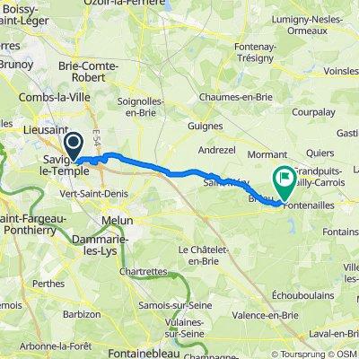 De Route des Poiriers, Réau à 2–56 Rue du Pont d'Ancœur, Saint-Ouen-en-Brie