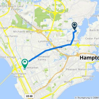 99 Tide Mill Ln, Hampton to 7609 Marshall Ave, Newport News