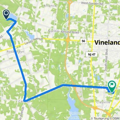 Route to 480 Jennifer Ln, Vineland