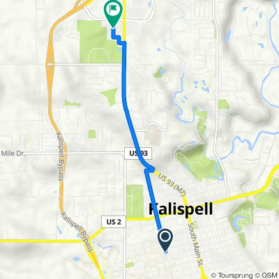 222 Fifth Ave W, Kalispell to 2270 US Highway 93 N, Kalispell