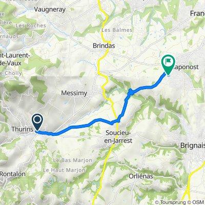 De 25A Chemin de la Martinière, Thurins à 21 Boulevard du Général de Gaulle, Chaponost