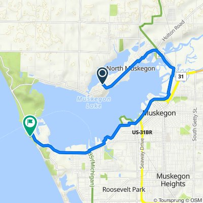 Route from 780 Franklin St, North Muskegon