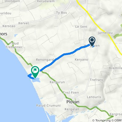 Itinéraire à partir de 282 Keryouen, Plovan