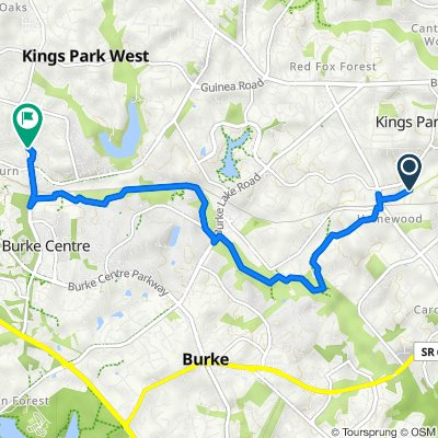 Route to 5440 New London Park Dr, Fairfax