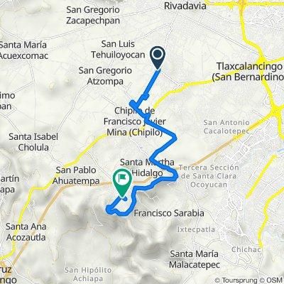 De Avenida Miguel Hidalgo 14, San Andrés Cholula a Calle Benito Juárez 137–147, San Bernardino Chalchihuapan