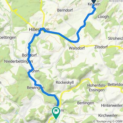 Hillesheimer Straße 3, Kerpen nach Mühlenweg 4A, Pelm
