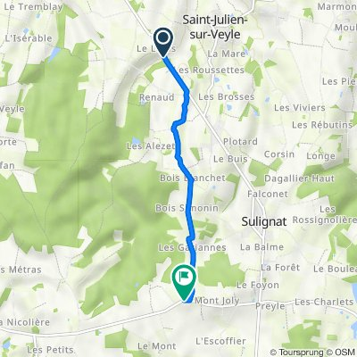 De Chemin du Logis, Saint-Julien-sur-Veyle à 1072–1114 Route de Thoissey, Sulignat