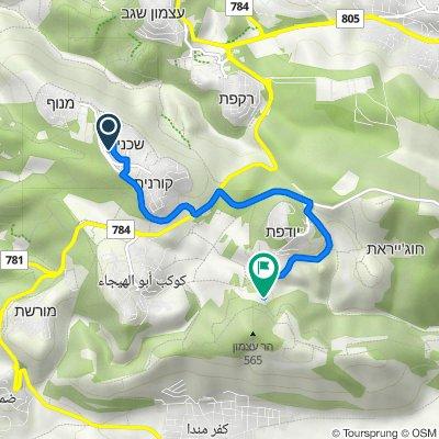 Route from Lotem Street 295–299, Shechaniya