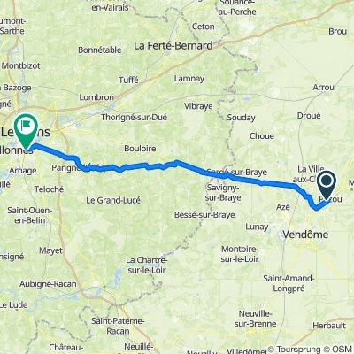 De Rue de la Varenne 5, Pezou à Rue de Bellême 6, Le Mans