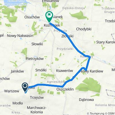 Rajsko 20, Opatówek do Tadeusza Kościuszki 19–25A, Koźminek