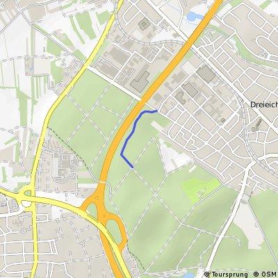 Single Trail an der A 661 am Dreieichenhainer Industriegebiet