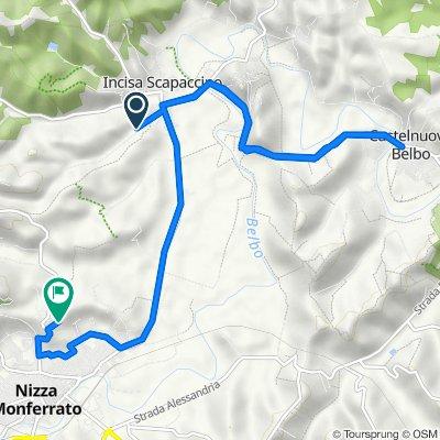 Da Via Vaglimondo 10, Incisa Scapaccino a Strada Vaglio Serra 50, Nizza Monferrato