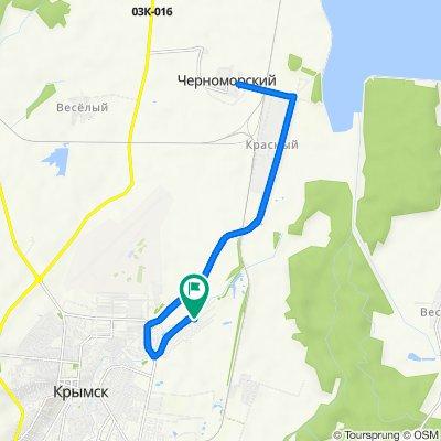 От Лебединая улица, 102, Крымск до Лебединая улица, 104, Крымск