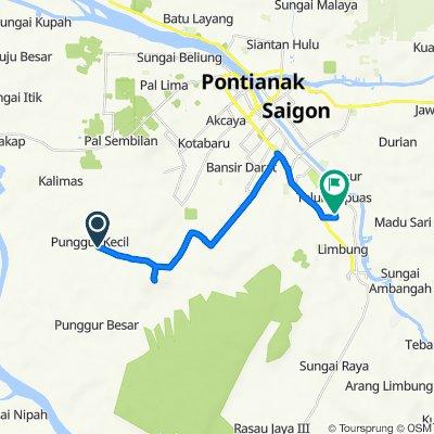 Jalan Pelita 1, Kecamatan Sungai Kakap to Jalan Musa Saleh 2, Kecamatan Sungai Raya