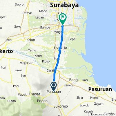 Jalan Raya Kasri 18, Kecamatan Pandaan to Kertomenanggal, Kecamatan Gayungan