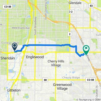 2331 W Hampden Ave, Sheridan to 3611 S Hillcrest Dr, Denver