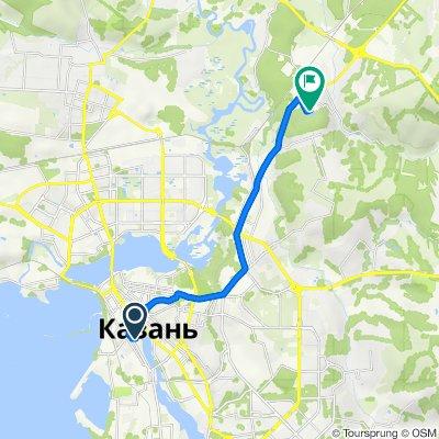От улица Фатыха Карима, 9, Казань до Парковая улица, 27А, Казань