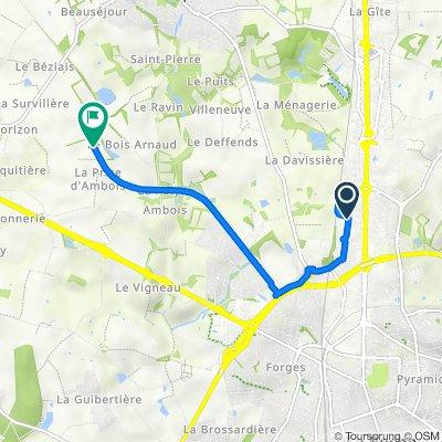 De Rue Philippe Lebon 140, La Roche-sur-Yon à Unnamed Road, Mouilleron-le-Captif