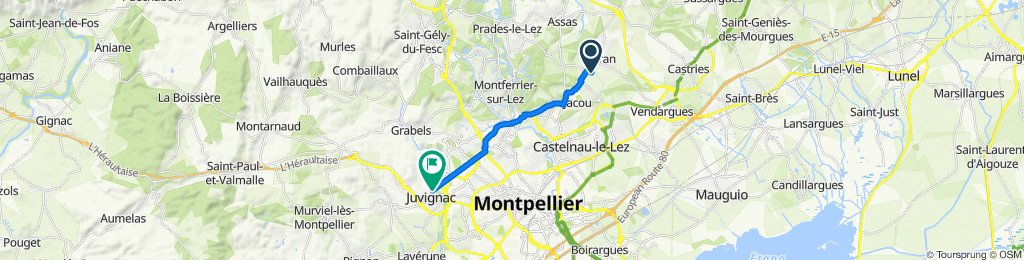 De Rue des Agates 250, Teyran à Rue Callisto 167, Juvignac