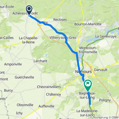 De Rue Laurent Poli 36, Achères-la-Forêt à Rue du Stade 2, Bagneaux-sur-Loing