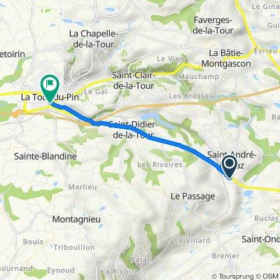 De 5bis Lotissement le Châtaignier, Saint-André-le-Gaz à 17 Rue Pierre Dupont, La Tour-du-Pin