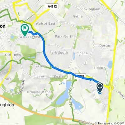Great Western Hospital, Coateside Way, Swindon to 38 Walcot Road, Swindon