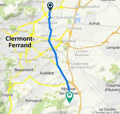 De 3 Square de Cacholagne, Clermont-Ferrand à 24 Rue de Vazilhas, Pérignat-lès-Sarliève