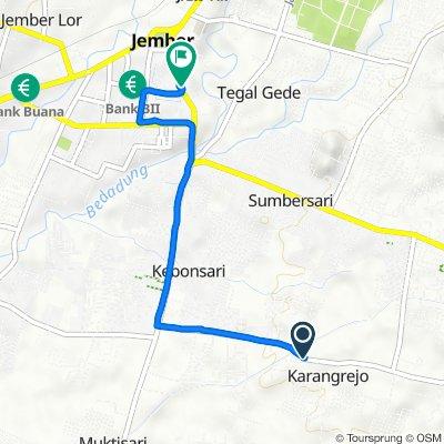 Jalan Letjen Sutoyo 122, Kecamatan Sumbersari to Jalan Jendral Ahmad Yani No.43, Kecamatan Kaliwates