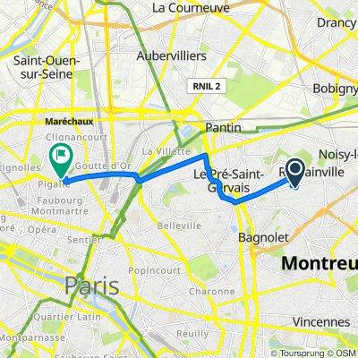 De 95 Avenue de Verdun, Romainville à 57 Rue d'Orsel, Paris