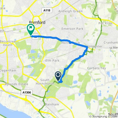Route to 10 Birkbeck Road, Romford