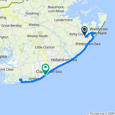 Route from 8 Baynards Crescent, Frinton-On-Sea