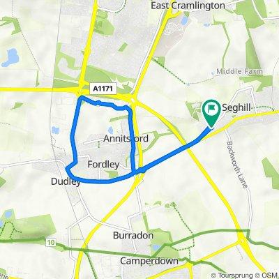 Thorncroft, Front St, Cramlington to 1 Aged Miners Cottages, Cramlington