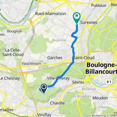 De Route des Quatre Bornes, Ville-d'Avray à 95 Rue de la Procession, Rueil-Malmaison