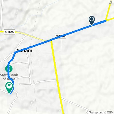 Route from SH 12A, Sunam