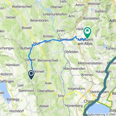 Route nach Sonnenbergstrasse 18, Affoltern am Albis