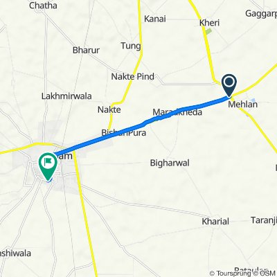 Route from SH 12A, Sangrur