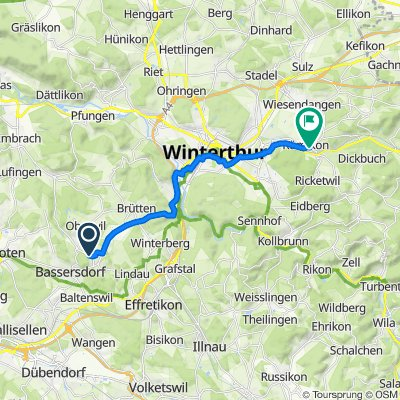 Eigentalstrasse, Nürensdorf nach Auwiesenstrasse 13, Elsau