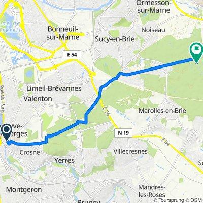 De 19 Allée Beauséjour, Villeneuve-Saint-Georges à Chemin du Poteau, La Queue-en-Brie