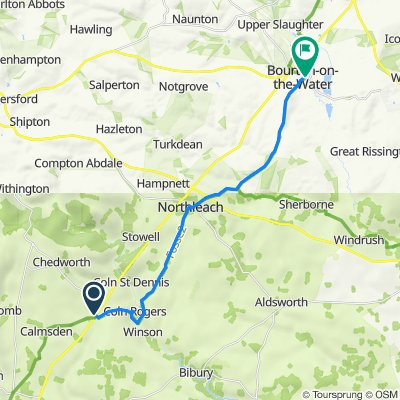 Fosseway, Chedworth, Fosse Cross, Cheltenham to 2–8 Moore Road, Bourton-On-The-Water, Cheltenham