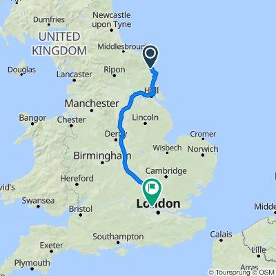 A165, Lebberston, Scarborough to Kenton Methodist Church, Woodgrange Ave, Harrow