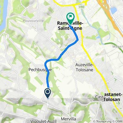De 70 Route des Pyrénées, Pechbusque à 4 Rue des Sanguinettes, Ramonville-Saint-Agne