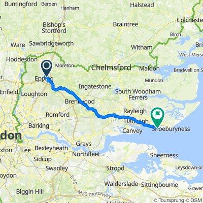 Route from 17 Boleyn Row, Epping