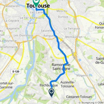 De 49 Route des Pyrénées, Pechbusque à 32 Rue Sainte-Ursule, Toulouse