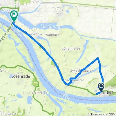 Route von Dorfstraße 6, Wittenberge