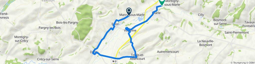 De Rue de la Passerelle, Marcy-sous-Marle à 38bis Rue Cyrille Liébert, Marle
