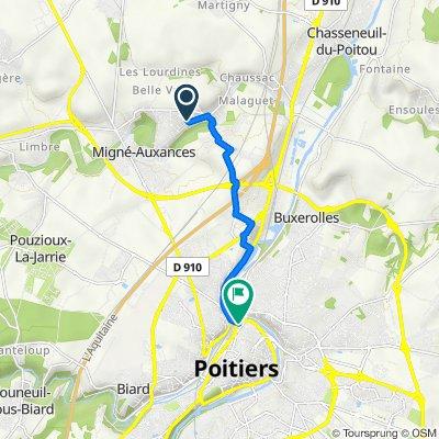 De Rue des Émeraudes 3, Migné-Auxances à Rue du Général Sarrail 8, Poitiers