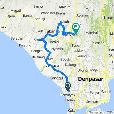 Jalan Raya Taman 148, Kecamatan Kuta Utara to gang legong No.16, Kecamatan Mengwi