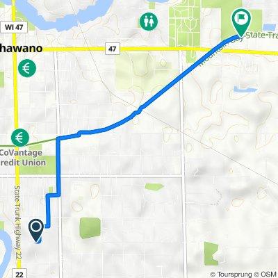 256 Schrader Ave, Shawano to Mountain Bay Trail, Shawano
